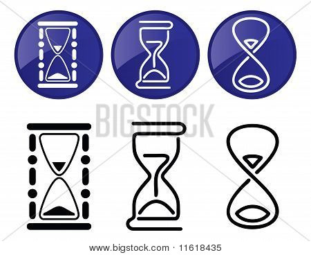 Hourglass. Vector Silhouettes Of Different Styles.