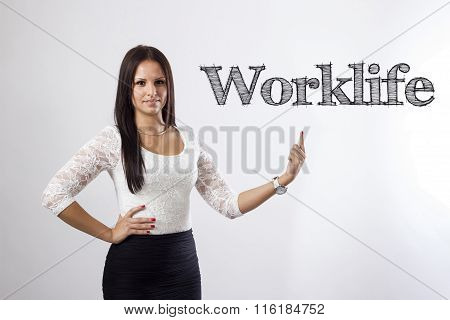 Worklife - Beautiful Businesswoman Pointing