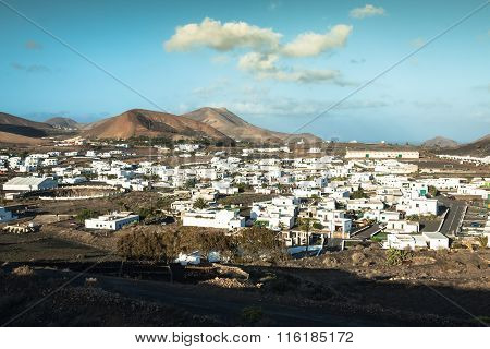 Beautiful Village Yaiza With View To The Volcanoes Of Lanzarote