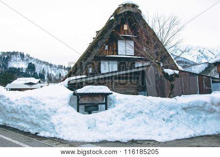 Old House In World Heritage Shirakawago, In Winter, Japan
