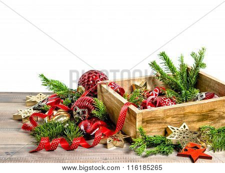Christmas Decoration, Toys And Ornaments. Holidays Background