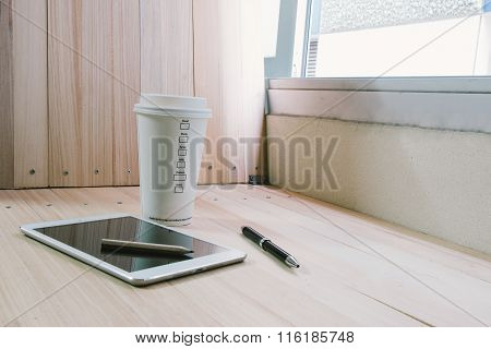 Coffee Cup With  Shutdown Tablet, Relax Time