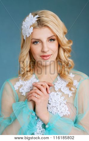 Adorable Young Blond Bride With Blue Eyes