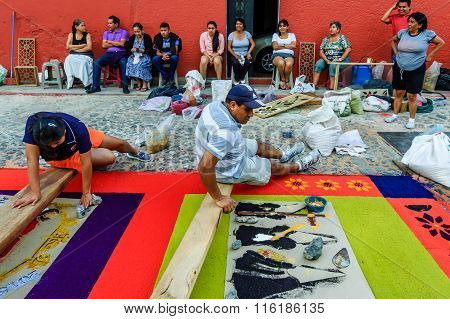 Family Make Good Friday Carpet, Antigua, Guatemala