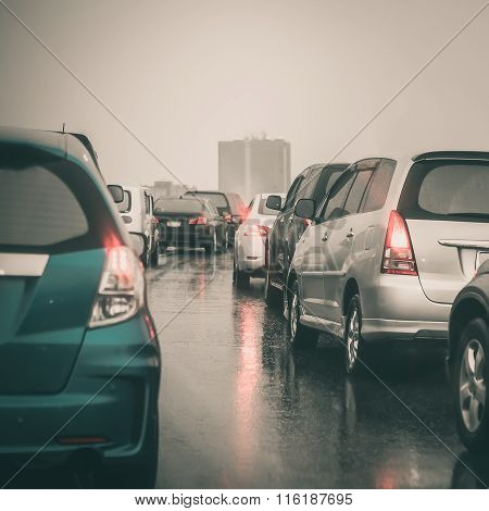 Traffic Jam On Express Way In Rainning Day
