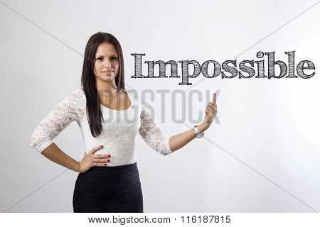 Impossible - Beautiful Businesswoman Pointing
