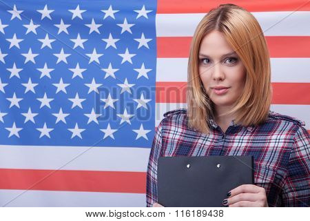 Cute young American girl is the real patriot