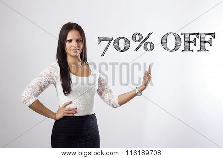 70 Percent Off - Beautiful Businesswoman Pointing