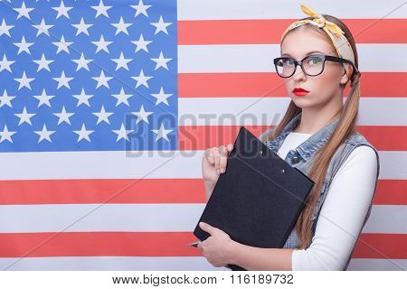 Attractive young girl is working in USA