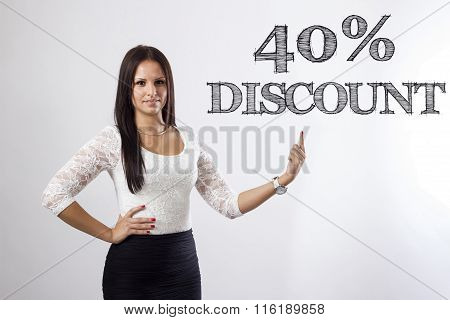 40 Percent Discount - Beautiful Businesswoman Pointing