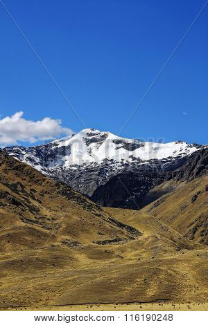 Snowy Andes Mountain In Peru