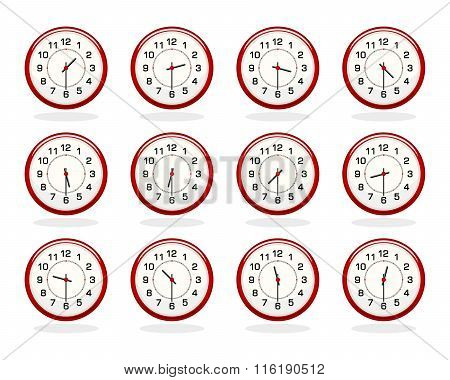 Set Of Red Clocks For Business Hours. Half Past Hours Version
