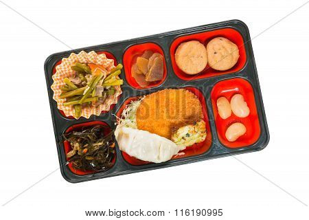 Japan Food Set Of Dumpling And Other In A Box Isolated On White / Japan Food (bento).