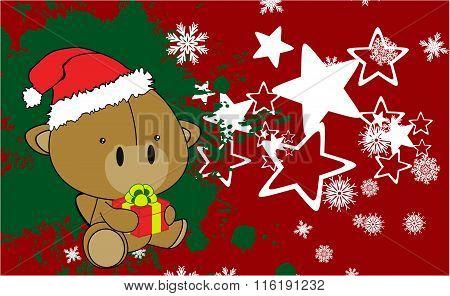 baby camel cartoon xmas background