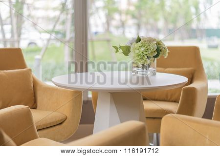 Yellow Chair And Sofa  In Modern Living Room