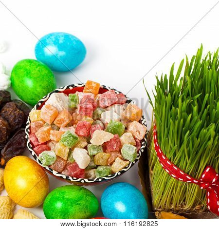 Colored eggs and traditional sweets