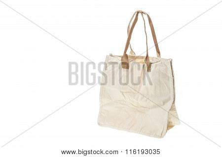 White Crumpled Textile Bag Isolated On White .