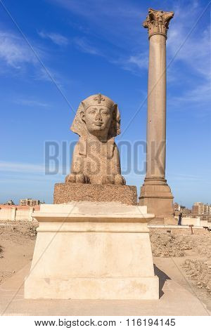 Pompey's Pillar In Center Of Alexandria City, Egypt