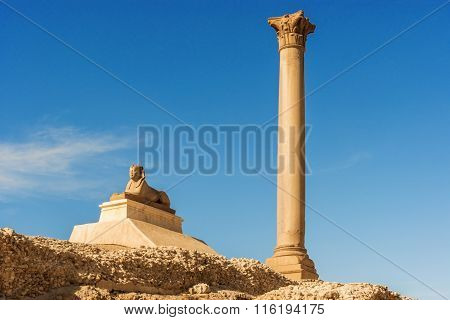 Pompey's Pillar In Center Of Alexandria City, Egypt