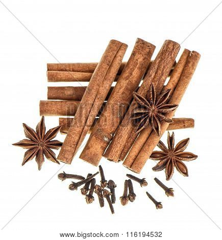 Christmas food spices. Mulled wine and gingerbread cookies ingredients isolated in white background