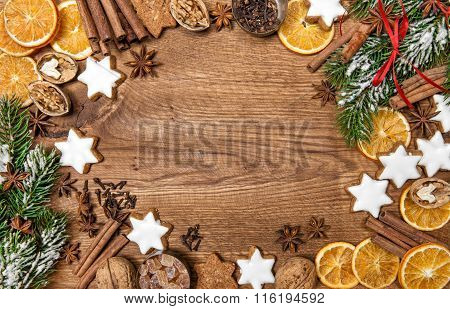 Christmas Cookies And Spices. Holidays Food. Christmas Tree