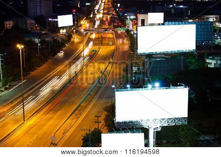 Blank billboard for advertisement on super highway rode