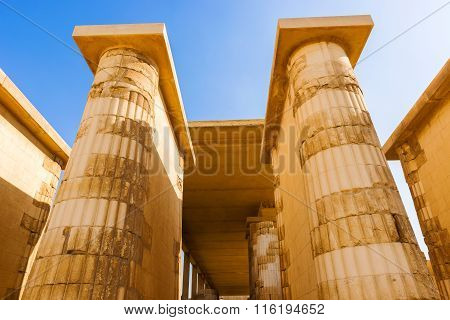 Columns Inside Saqqara Temple In Egypt