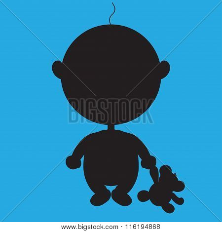 Illustration Of The Animation Silhouette Pretty Boy With A Bear Toy