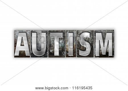Autism Concept Isolated Metal Letterpress Type