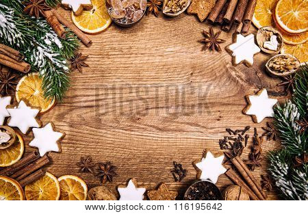 Christmas Decorations, Cookies Spices. Vintage Style Dark Toned