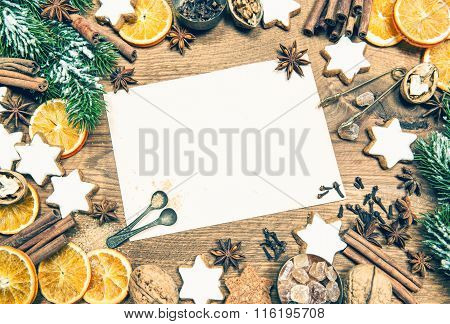 Christmas Decorations, Cookies And Spices. Vintage Style