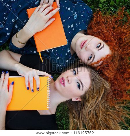 Best Girlfriends Are Students Together On Lawn.