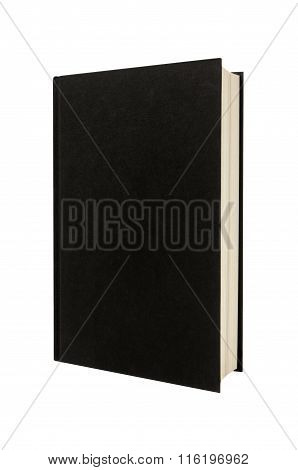 Black Plain Hardcover Book Or Bible Front Cover Upright Vertical Isolated On White