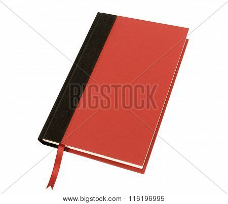 Red Hardcover Book With Bookmark Front Cover View Isolated On White