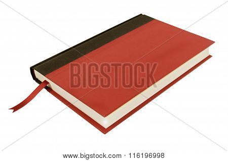 Red Hardcover Book With Bookmark Top View Isolated On White