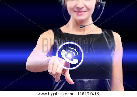 businesswoman, pressing button on touch screen interface and select call.   business concept.