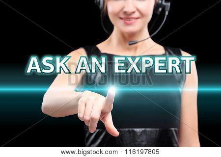 businesswoman, Focus on hand pressing Ask an expert button. virtual screens, technology, internet co