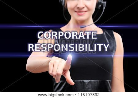 business, technology and networking concept - businesswoman pressing corporate responsibility button