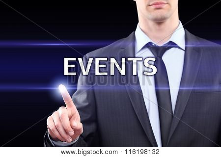 business, technology and networking concept - businessman pressing events button on virtual screens