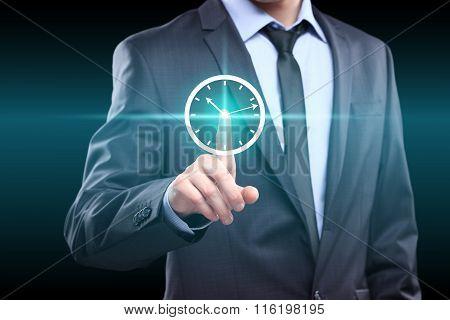 Businessman hand press clock web sign time button