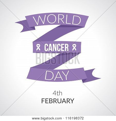 Background with lavender awareness ribbon symbol of 4th February World Cancer Day with concept ribbon and text of cancer day awareness