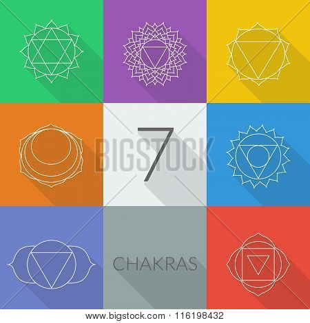 The seven chakras vector set style flat with shadows. Linear character illustration of Hinduism and Buddhism. For design associated with yoga and India.
