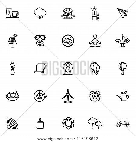 Clean Concept Line Icons On White Background