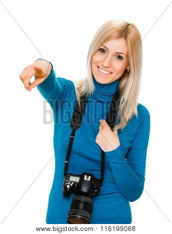 beauty woman holding a camera and pointing