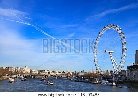 London, United Kingdom - 25 January 2016: London Eye Is The Tallest Ferris Wheel In Europe And Count