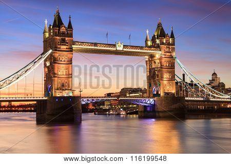 Tower Bridge At Dusk ,london United Kingdom