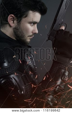 super cops - brown man posing with a gun