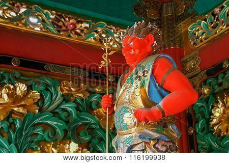 NIKKO JAPAN - NOVEMBER 17 2015: Bidara - One of the four guardians at the Yashamon Gate of Taiyuinbyo - the Mausoleum of Shogun Tokugawa Iemisu