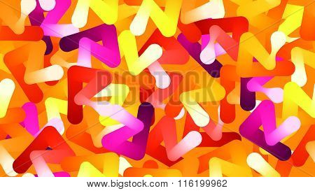 Abstract yellow, orange, pink objects seamless pattern backgroun