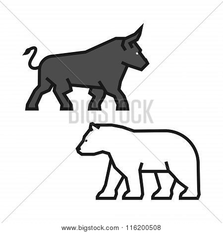 Linear Concept For Stock Market On The Rise And A Fall. Vector L